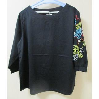 スカラー(ScoLar)のスカラー フルーツ袖TOP 黒(シャツ/ブラウス(半袖/袖なし))