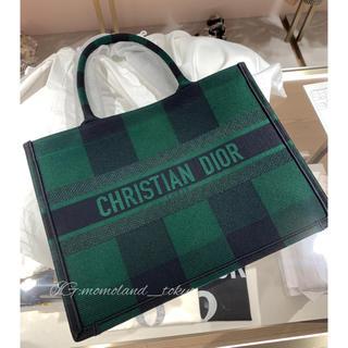 ディオール(Dior)のディオール スモール ブックトート キャンバス グリーンチェック(トートバッグ)