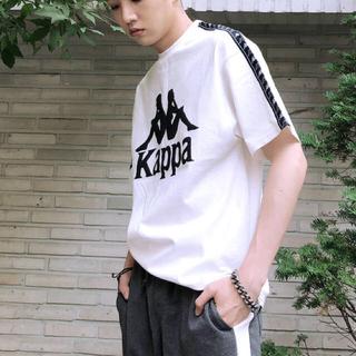 Kappa - Kappa カッパ  ビッグシルエット 袖ロゴライン 1/2スリーブカットソー