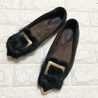 美品 ぺたんこ 靴 ファーつきパンプス 冬 裏起毛 歩きやすい ブラック(ハイヒール/パンプス)