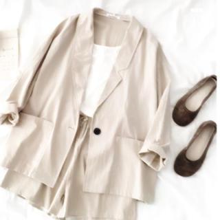 ZARA - [春夏♡大人気商品]リネン素材 ジャケット+ショートパンツ 2点セット