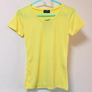 新品タグ付き Tシャツ カットソー 無地 シンプル イエロー カラー 黄色(Tシャツ(半袖/袖なし))