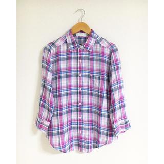 UNIQLO - ●売り切り UNIQLO ♡ チェック柄リネンシャツ 7分袖