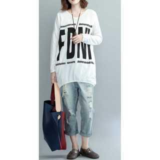 【大きめサイズ】ビックロゴミニワンピース風 ロングTシャツ(Tシャツ(長袖/七分))
