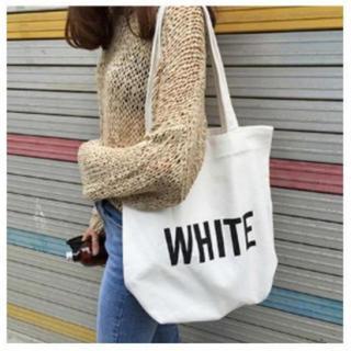 キャンバス カジュアル トート バッグ かわいい 帆布 A4サイズ  ホワイト(トートバッグ)