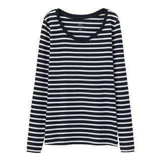 ジーユー(GU)の新品タグ付き Lネイビーボーダー 長袖クルーネックTシャツ 綿100% 匿名配送(Tシャツ(長袖/七分))
