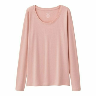 ジーユー(GU)の新品タグ付き M ピンク 長袖クルーネックTシャツ 綿100% 匿名配送(Tシャツ(長袖/七分))