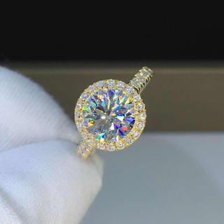 【newカラー】モアサナイト  ダイヤモンド k18YG リング(リング(指輪))