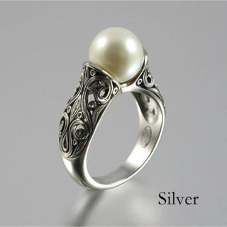 パールリング☆真珠☆指輪☆ホワイトパール☆シルバー☆14号(リング(指輪))