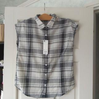 ジーユー(GU)の未使用 gu マドラスチェックシャツ グレー M(シャツ/ブラウス(半袖/袖なし))