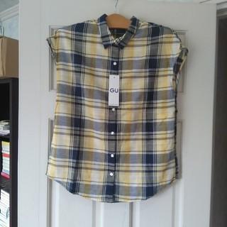 ジーユー(GU)の未使用 gu マドラスチェックシャツ イエロー M(シャツ/ブラウス(半袖/袖なし))