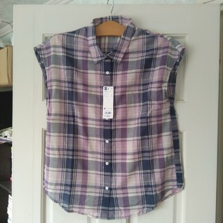 ジーユー(GU)の未使用 マドラスチェックシャツ パープル M(シャツ/ブラウス(半袖/袖なし))
