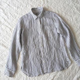 MUJI (無印良品) - 無印良品 リネン100% ストライプ シャツ