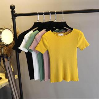【新品未使用】ニットTシャツ イエロー(Tシャツ(半袖/袖なし))