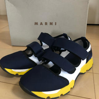 マルニ(Marni)の新品未使用☆MARNI  ベルクロスニーカーサンダル ネイビー37(スニーカー)