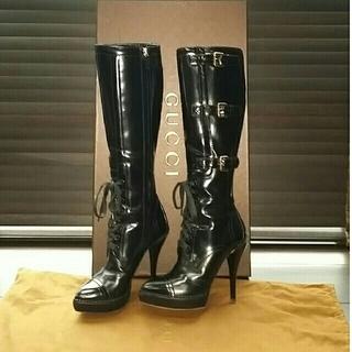 グッチ(Gucci)のGUCCI美品ロングレザーブーツ黒【size34.5】(ブーツ)