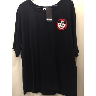 Disney - 数日限定 新品 ミッキー  ワッペン tシャツ レディース  大きいサイズ 4L