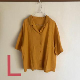 ジーユー(GU)のリネンブレンドオープンカラーシャツ / GU / ジーユー / Lサイズ (シャツ/ブラウス(半袖/袖なし))