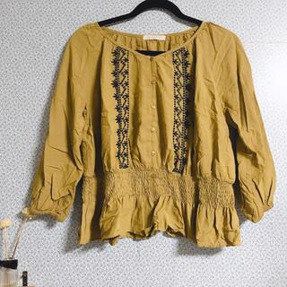 chocol raffine robe - ブラウス シャツ トップス 刺繍 黄色 イエロー マスタード 7部袖
