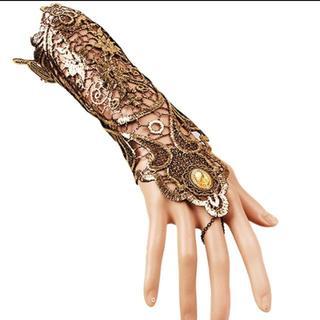新品◆ゴールドブラックのゴシック手袋(手袋)
