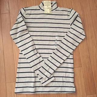 MUJI (無印良品) - 無印良品  オーガニックコットンストレッチボーダーハイネックTシャツ