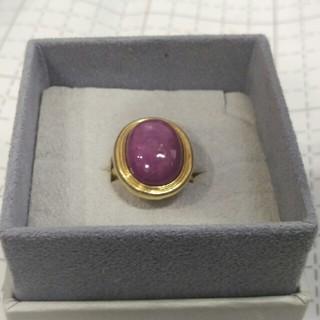 K18 大粒 ピンクスターサファイア リング(リング(指輪))