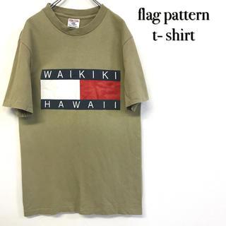 美品 フラッグロゴ ハワイTシャツ