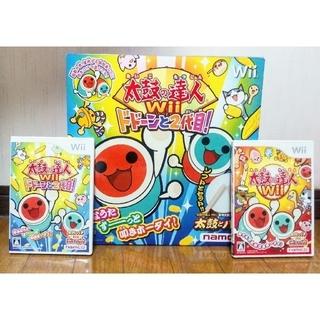 バンダイ(BANDAI)の太鼓の達人Wii ソフト2枚 太鼓とバチ1セット(家庭用ゲームソフト)