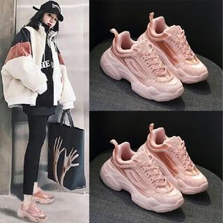 韓新作 ファッション ピンク   厚底 スニーカー       (スニーカー)