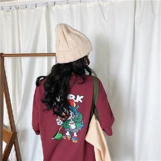 新 品   サメ柄  バックプリント 半袖 Tシャツ     ワインレッド(Tシャツ(半袖/袖なし))