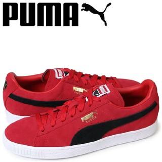 プーマ(PUMA)の最値定価1万!新品!プーマ スエードクラシック+高級レザースニーカー 赤黒白28(スニーカー)