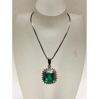 大粒 天然エメラルド 1.48ct ダイヤモンド 0.48ct ネックレス(ネックレス)