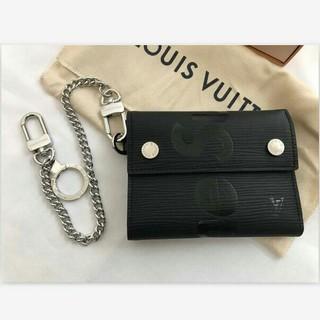 LOUIS VUITTON - LV  財布  Supreme 三つ折り財布 黒