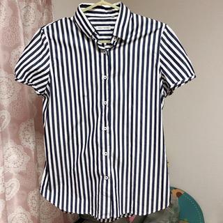 スーツカンパニー(THE SUIT COMPANY)のスーツカンパニー ストライプ 半袖 ワイシャツ ネイビー(シャツ/ブラウス(半袖/袖なし))