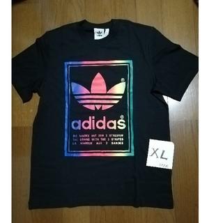 アディダス(adidas)のadidasオリジナルス/レインボーロゴT 黒XL 未使用タグ付き(Tシャツ/カットソー(半袖/袖なし))