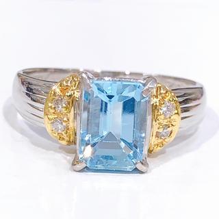 PT900 K18 ブルートパーズ ダイヤモンド リング(リング(指輪))