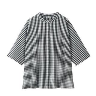 MUJI (無印良品) - 新品   無印良品  新疆綿ブロードギンガムチェック五分袖ブラウス