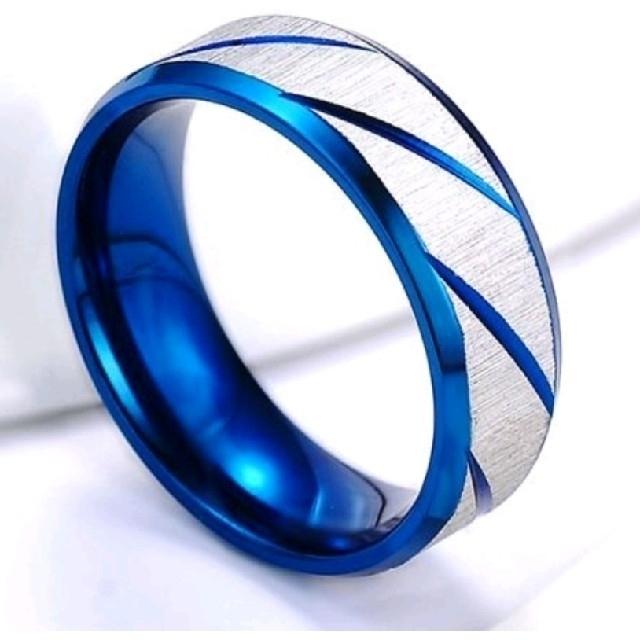 ブルーの斜め彫りデザインシルバーリング 17号 レディースのアクセサリー(リング(指輪))の商品写真