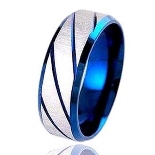 ブルーの斜め彫りデザインシルバーリング 17号(リング(指輪))