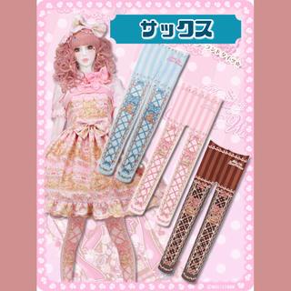 Angelic Pretty - 【新品】 黒猫アリスのチョコレート☆ワンダーランドタイツ (サックス)