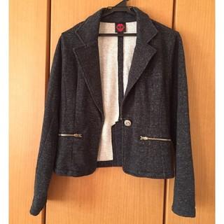 しまむら - 濃いグレーのラメ入りテーラードジャケット