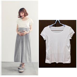 【美品】マタニティ トップス 授乳服 Tシャツ 可愛い 妊婦服 ホワイト