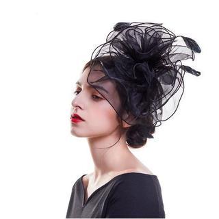 新品◆フラワービッグヘッドドレス⑤ ブラック(その他)