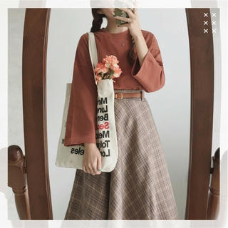 Lochie - 【2点セット】チェックスカート+ルーズTシャツ