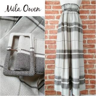 Mila Owen - Mila Owen*ミラオーウェン【美品】今期★ベルト付きチェックワイドパンツ