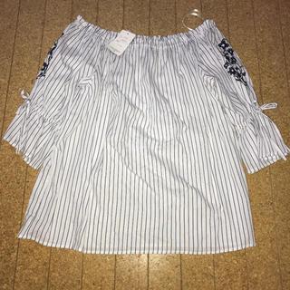 アベイル(Avail)のストライプ刺繍カットソー(カットソー(長袖/七分))