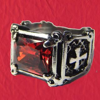 送料無料 赤色 クロスモチーフ 十字架 リング 指輪 ゴシック 19号(リング(指輪))