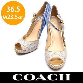 コーチ(COACH)の美品❤️コーチ 柄 オープントゥ ストラップ パンプス 36.5(約23.5cm(ハイヒール/パンプス)