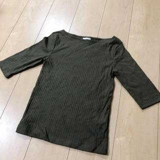 ジーユー(GU)の綺麗   Tシャツ 五分袖カットソー M カーキ(Tシャツ(半袖/袖なし))