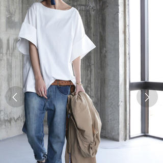 アンティカ(antiqua)の試着のみ★ シルケット袖折り返しTシャツ  ホワイト(Tシャツ(半袖/袖なし))
